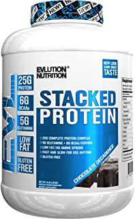 Evlution Nutrition Stacked Protein Protein Powder with 25 Grams of Protein, 5 Grams of BCAA's and 5 Grams of Glutamine (Chocolate Decadence, 4 LB)