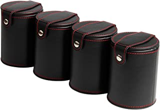 Bidear Leather Dice Cup Shaker with Lid - 6 Glow In The Dark Dice for Most Dice Game - Red Felt Lined, 4 Pack