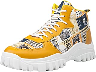 Men's Comfortable High-Top Breathable Lightweight Platform Shoes Hiking Graffiti Wild Mix-Color Outdoor Fit Shoes