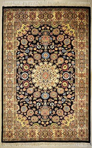 etnico Ardabil Teppich aus orientalischer Seide und Wolle, handgefertigt, 124 x 193 cm, Schwarz