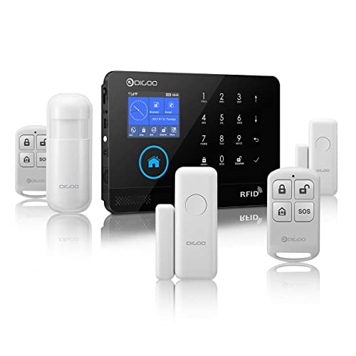Kits de système d'alarme Digoo DG-Hosa DIY Smart Home - Détecteur de mouvement infrarouge à la porte - Alarme magnétique avec application de contrôle - 433MHz - Sans fil - Noir - 3G - GSM
