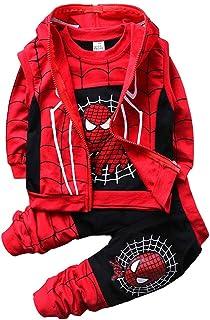 Set di Abbigliamento Bambini Completino Spiderman Maniche Lunghe Tute Ragazze Felpa con Cappuccio Camicie e Pantaloni Pull...