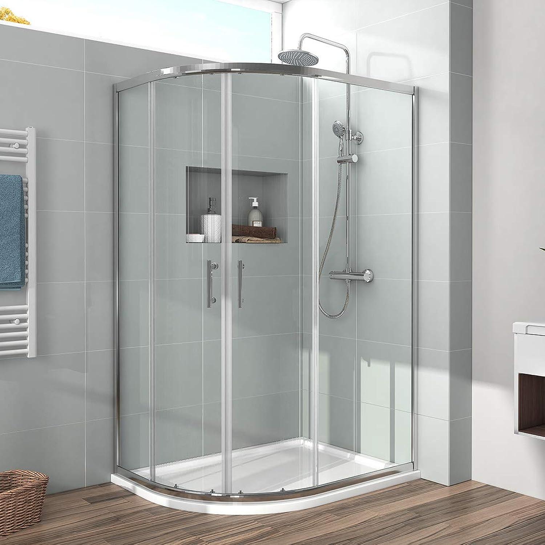 800 x 1000 mm Offset Quadrant Shower Enclosure 6mm Glass Sliding Shower Cubicle Door - Reversible