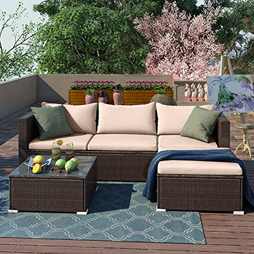 5pcs Rattan Garden Outdoor Furniture Patio Sofa Set with Glass Coffee Table Outdoor Cushions for Garden or Conservatory Rupert (Brown)