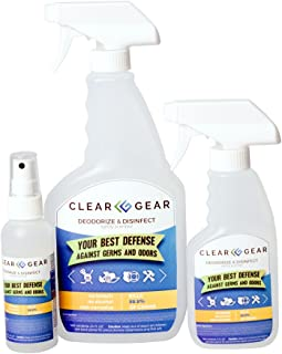 Clear Gear Disinfecting Spray Packs - Disinfect, Clean, Deodorize Sports and Protectice Gear - Kills Odor and Leaves a Fresh Scent