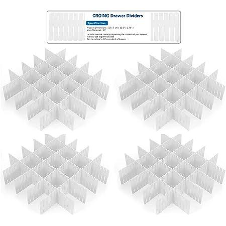 CROING - 32 pcs Blanc - DIY Organisateur de Tiroir/Grille Diviseur de tiroir/Rangement de tiroir/Separateur de Tiroir pour sous-Vêtements Chaussettes Ceinture Fournitures de Bureau