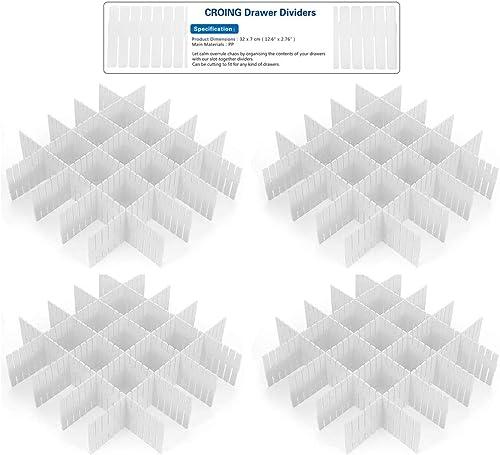 CROING - 32 pcs Blanc - DIY Organisateur de Tiroir/Grille Diviseur de tiroir/Rangement de tiroir/Separateur de Tiroir...