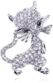 N/W Kitten Animal Brooch Pin for Women with Rhinestone Silver Color Brooches Gift For Friend