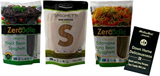 Zeroodle Liviva USDA Organic Gluten Free Spaghetti Pasta 3 Flavor Variety Plus Recipe Booklet Bundle, 1 each: Black Bean, Soybean, Edamame Mung Bean (7.05 Ounces)
