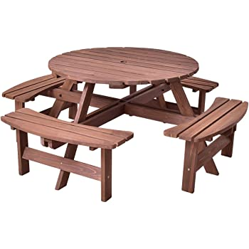 Amazon.com: Giantex Wooden Picnic Table Set With Wood Bench, 4 Adults Or 8 Kids Outdoor Round Table With Umbrella Hold Design, Perfect For Outdoor Garden Yard Pub Beer Dining, Dark Brown: Kitchen