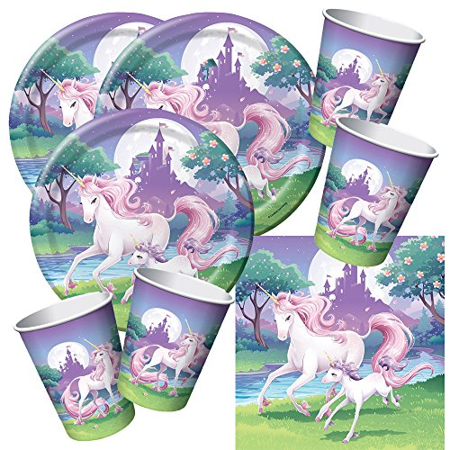 Creative Converting 48-teiliges Party-Set Einhorn - Unicorn - Teller Becher Servietten für 16...
