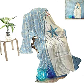jecycleus Nautical Luxury Special Grade Blanket Sea Objects on Wooden Backdrop with Vintage Boat Starfish Shell Fishing Net Photo Multi-Purpose use for Sofas etc. W55 x L55 Inch Blue White