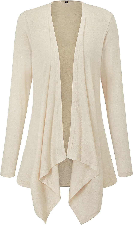 LAISHEN Women's Long Sleeve Open Front Cardigan Irregular Hem Sweater Lightweight Casual Outwear