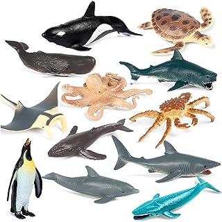 KUKIFUN Sea Animal Cake Toppers, 12PCS Sea Creatures Toys Set, Shark, Whale, and Dolphin Animal Figurines, Children Mini S...