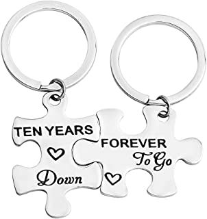 FEELMEM 10th Ten Years Down Forever to Go Couples Puzzle Keychain Set of Two 10 Years Anniversary Key Chain Gift for Him or Her (Silver)