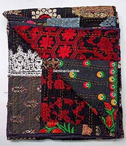 Colcha Kantha con 2 fundas de almohada con 2 fundas de almohada