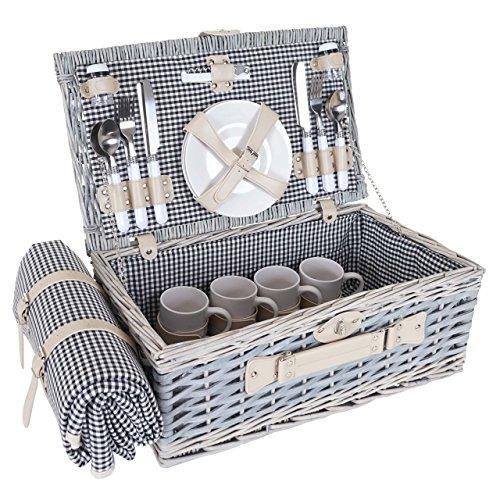 Mendler Picknickkorb-Set HWC-B24 für 4 Personen, Weiden-Korb, Porzellan Edelstahl, schwarz-weiß
