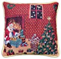 Christmas Tapestry Style Festive Santa,Tree & Gifts Cushion Cover, 43 x 43cm (17