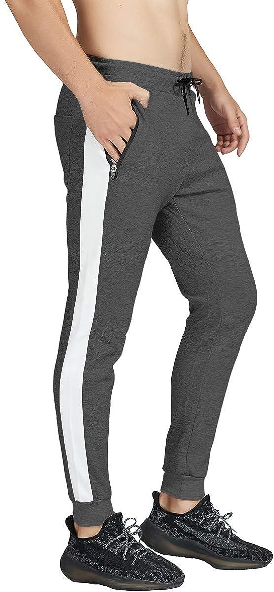 NAVEKULL Mens Gym Jogger Pants Slim Fit Bodybuilding Training Workout Sweatpants with Zipper Pockets