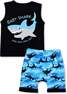 Baby Boy Clothes Shark Doo Doo Doo Print Summer Cotton...