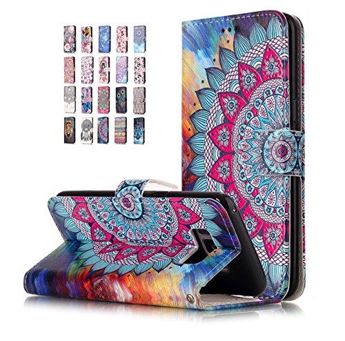 E-Flamingo Universecase Funda Compatible con Samsung Galaxy S8 Plus Cartera Mandala Diseño Cuero con Iman Cierre Tarjetero Libro Shell Cover Inquebrantable para Mujer Chica