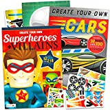 Make a Face Sticker Books for Boys Girls Kids Toddlers -- Set of 2 Jumbo Books with over 60 Pages and 540 Stickers Featuring Superheroes, Villains, and Cars (Sticker Face Activity Set)