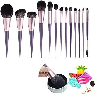Makeup Brush Set 13 Pcs Premium Synthetic Foundation Powder Concealers Eye shadows Blush Makeup Brushes Purple Cosmetic Br...