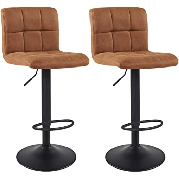 Bar Stool Duhome WY-451 Adjustable Swivel with Backrest Set of 2 Barstools (Brown)