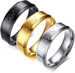 مجموعة من 3 ألوان من Christian Stainless Steel God Is Great Than The Highs And Lows خواتم للرجال والنساء ، مقاس 11