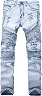 Mens Skinny Jean Distressed Slim Elastic Jeans Denim Biker Jeans Hip Hop Pants Washed Ripped JeansYA558