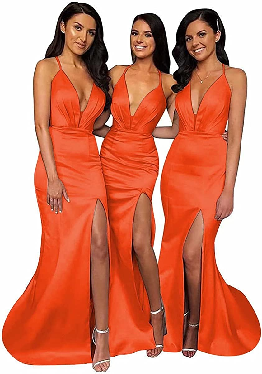 Mermaid V Neck Bridesmaid Dresses Long Split Formal Dress Satin 2021 Prom Evening Party Gown Pleated