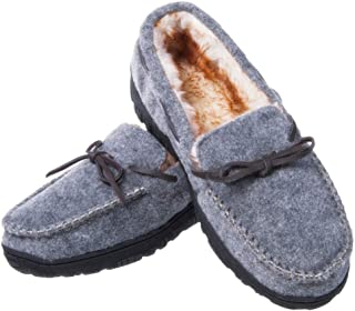 festooning Mens 2haomakexie Moccasin Slippers Grey Size: 11 M US/Pls Order 1-1.5 Size up