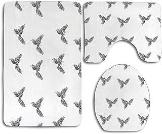 Huayuanhurug Phoenix Hand Drawn Chinese Phoenix Tattoo Style Simplistic Magic Bird Print Bath Rug Set 3PCS Non-Slip Bathroom Rug Contour, Mat and Toilet Lid Cover