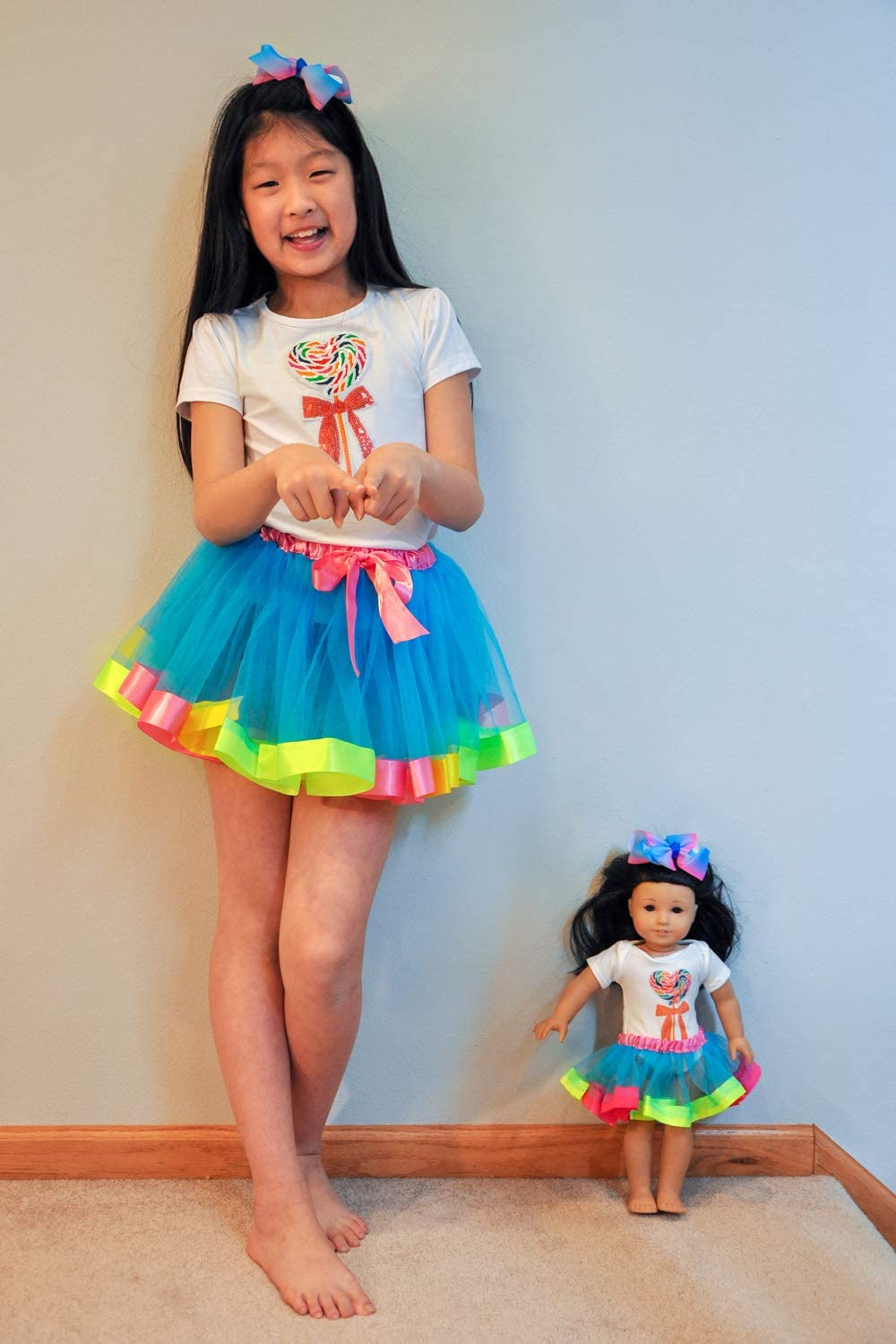 Ecore Fun Matching Girl /& Doll Dresses Clothes Outfits for 7-9 Years Girls and American 18 Inch Girl Doll