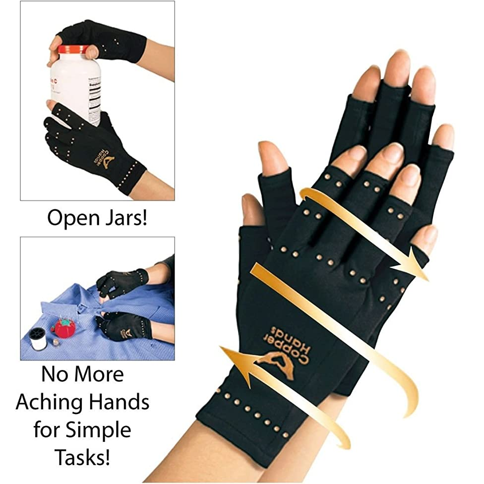 UNAKIM--One Pair Compression Copper Hands Arthritis Gloves New Therapeutic One size Fit