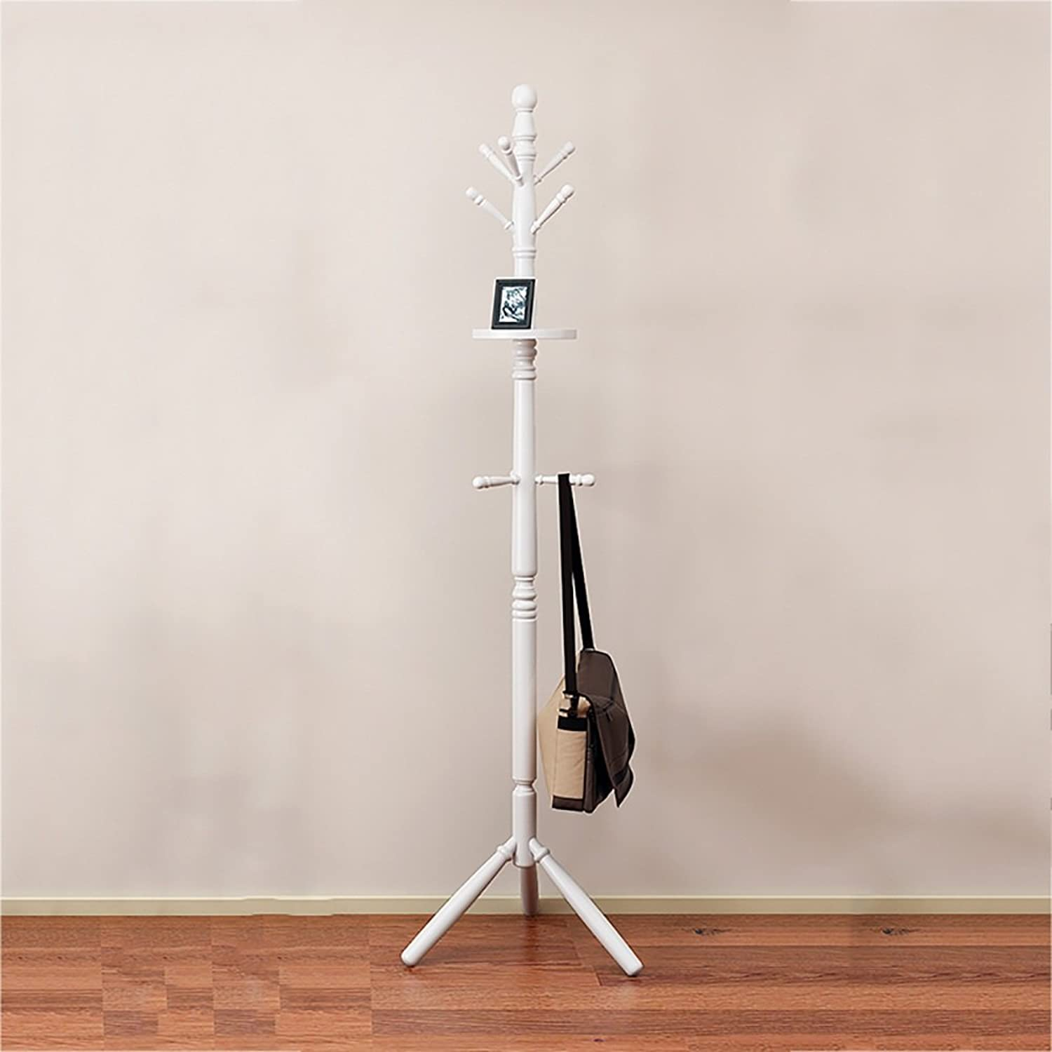 XRXY Solid Wood Floorstanding Coat Rack Bedroom Modern Hanger Creative Clothes Storage Rack (3 colors Optional) (color   White)