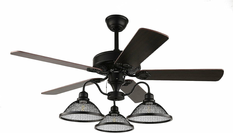 Ventilador de techo de 52 pulgadas con iluminación, estilo antiguo, lámpara de techo de metal, 3 niveles E27 con mando a distancia, lámpara colgante para salón