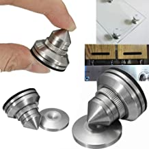 F-ber 4 Sets Stainless Steel Speaker Spike Shockproof 28-32mm Adjustable Isolation Feet Stand Cone Pad for Turntable Amplifier CD DAC Recorder with 3M Adhesive