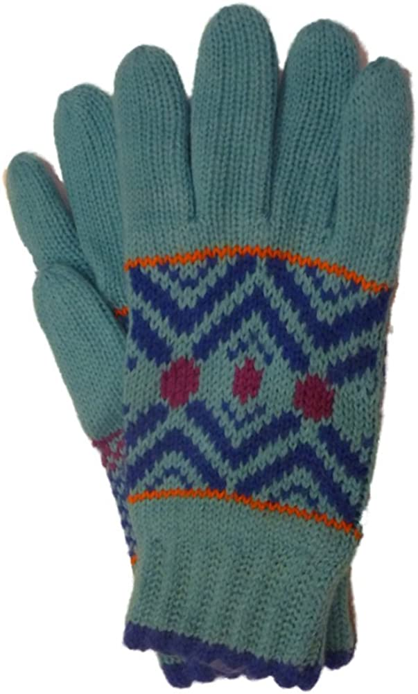 Urbanology Womens Soft Blue Knit Winter Gloves with Fleece Lining