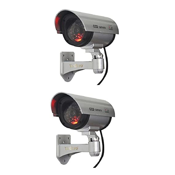 Cartshopper 2 Pcs Realistic Look Dummy Security CCTV Fake Bullet Camera with Led Light Indication Home Security Camera