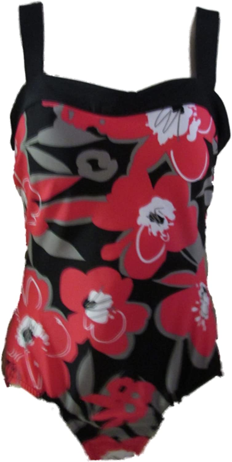 Miraclesuit Women's One Piece Swimsuit Red Blossom Floral