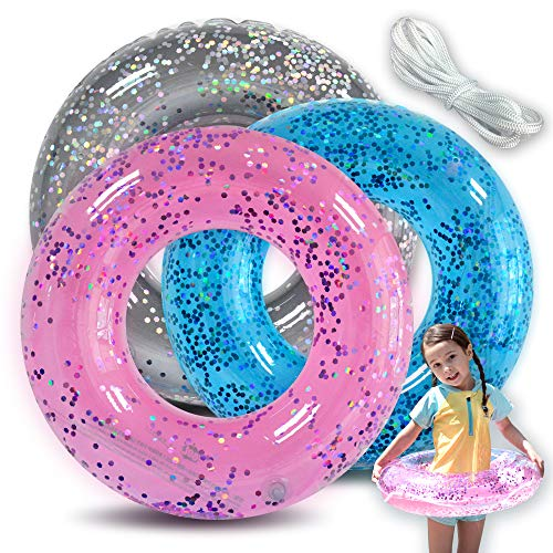 Pool Floats for Kids(3 Pack) Inflatable Glitter Tube,Toys for Swim Pool Party Decorations + Patch