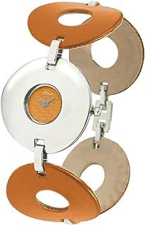 Moog Paris Bohême Reloj para Mujer con Esfera Naranja, Correa Naranja de Acero Inoxidable Cubierto con Cuero - M46142-002