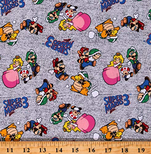 Cotton Super Mario Bros 3 Luigi Princess Peach Toad Green Shells Mario Raccoon Costume Characters Video Games Gaming Go Mario and Friends Gray Cotton Fabric Print by The Yard (D507.36)
