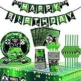 Suministros para Fiesta de Cumpleaños Tema del Juego, HOMEK 72 pzs Vajilla para Fiestas Cumpleaños Party Decoracion Cubiertos, Platos Servilleta Taza Mantel Tenedor Cuchillo Pajitas Bandera