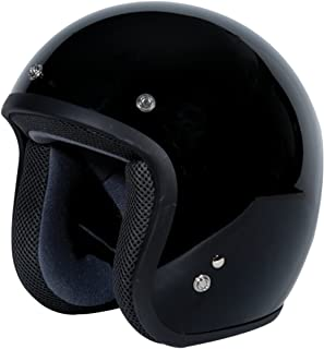 TORC (T50 Route 66) 3/4 Motorcycle Helmet with Solid Color (Classic Gloss Black)