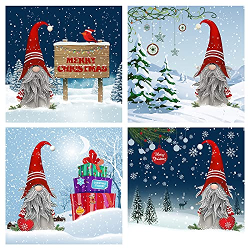 4 Pack Christmas Diamond Painting Lovely Gnomes Full Drill Diamond Art DIY Crystal Rhinestone 5D Diamond Painting Kits for Adults Christmas Home Wall Decoration, 12x12 Inch