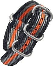 Black/Grey/Orange High-end Superior NATO Style Ballistic Nylon Watch Band Strap Replacement for Men