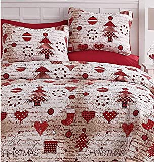 Festive Holidays Vintage Christmas Red & White Full/Queen Quilt Set (3 Piece Set) + Homemade Wax Melts