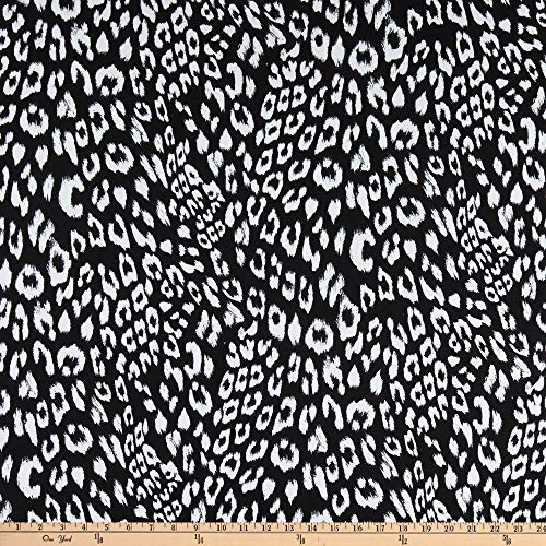 Fabtrends Dty Animal Leopard Black White Fabric by the Yard